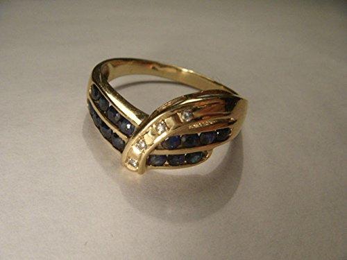 Gorgeous Estate 14K Yellow Gold Sapphire Diamond Band Ring (Diamond Estate Sapphire Ring)