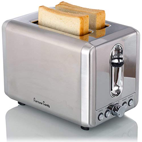 Fortune Candy Toaster 2 Slice Stainless Steel, Bread Toaster Bagel Toasters with High Lift Lever, Wide Slot Kitchen Toaster with Pop Up and Adjustable Temperature Control