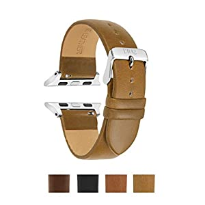 Apple Watch Compatible Band 38mm, 42mm, Vegetable Tanned Leather, Italian Leather, Replacement for iWatch, Fits Apple Watch Series 4 Series 3 Series 2 Series 1 Sport