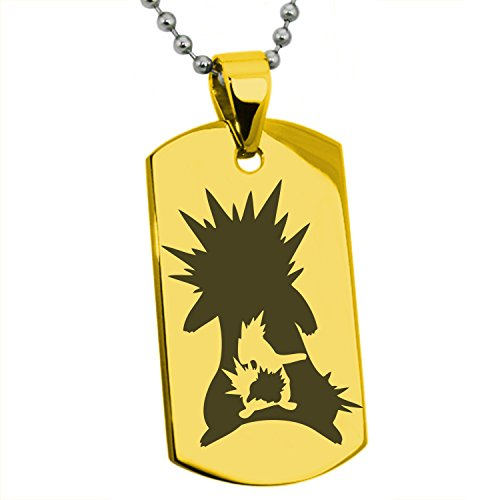 Gold Plated Stainless Steel 2nd Gen Cyndaquil Quilava Typhlosion Pokémon Engraved Dog Tag