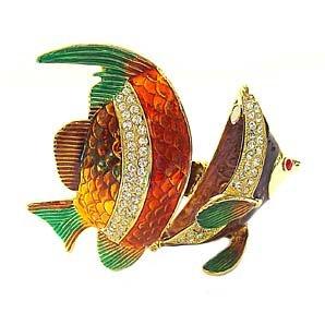 - Fish Box Swarovski Crystals Jewelry Trinket Angel Reef Fish Figurine