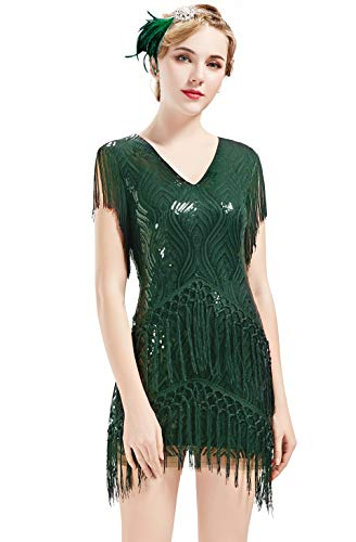 BABEYOND 1920s Flapper Dress Long Fringed Gatsby Dress Roaring 20s Sequins Beaded Dress Vintage Art Deco Dress (Dark Green, XS) -