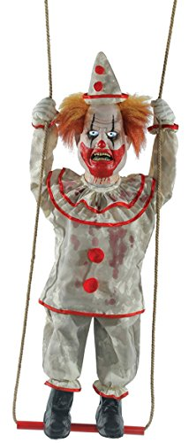 [Animated Swinging Happy Clown Doll Prop] (Halloween Animatronics)