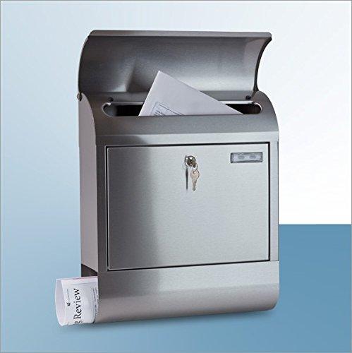 Metall Briefkasten mit Zeitungsrolle in toller Edelstahl Optik