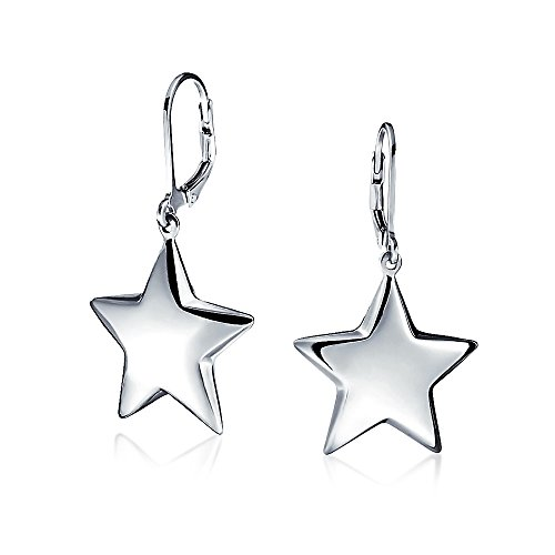 Bling Jewelry .925 Silver High Polished Puffed Star Leverback Earrings Sterling Silver Sterling Silver Puffed Star