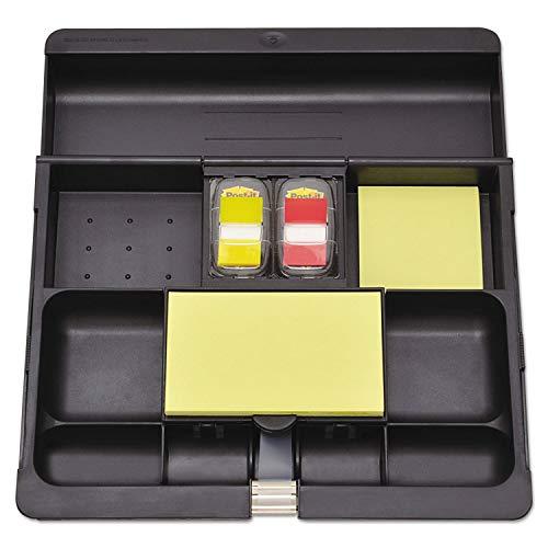 3M MMMC71 Recycled Plastic Desk Drawer Organizer Tray, Plastic, Black, Black