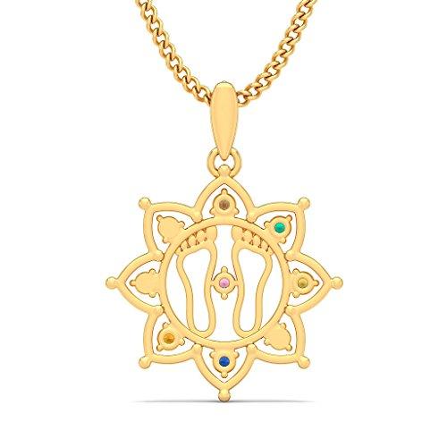 14K Or jaune 0,1ct tw Round-cut-diamond (IJ   SI) et Navaratna Pendentif