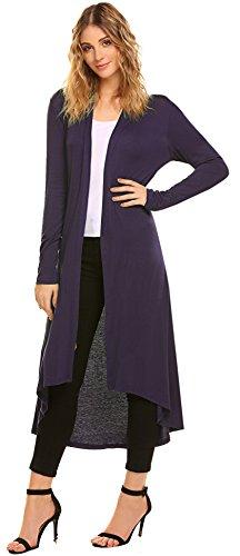 POGTMM Women's Long Open Front Drape Lightweight Maix Long Sleeve Cardigan Sweater (US XL(16-18), Purple) from POGTMM