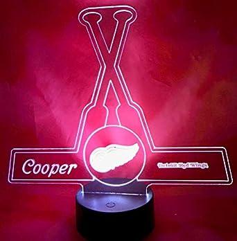 9cbacb18071 Detroit Beautiful Handmade Acrylic Personalized Red Wings Hockey Sticks  Light Up Light Lamp LED