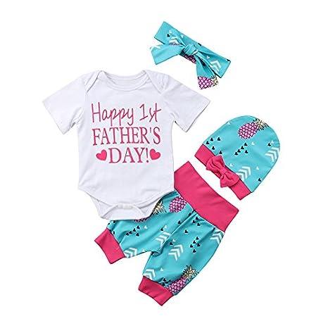 ... Nacido Boy Manga Corta de Algodón Mameluco Tops Pantalones Cortos  Calientes Diadema Sombrero 4 Unids Conjunto de Ropa  Amazon.es  Deportes y  aire libre c0c7b96afb206