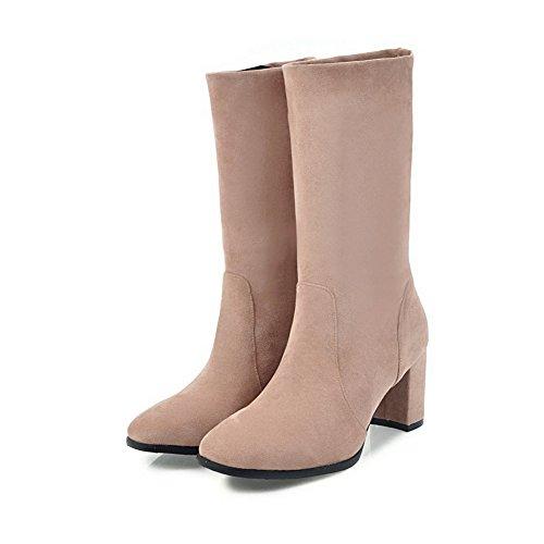 AllhqFashion Damen Rein Ziehen auf Flaum Futter Quadratisch Zehe Stiefel, Schwarz, 34