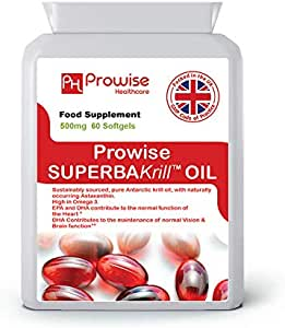 Superba Krill Oil 500mg 60 Softgels - 1000mg Per Serving - High Grade Pure Antarctic Sourced Red Krill Providing a Rich Source of Omega- UK Made By Prowise Healthcare