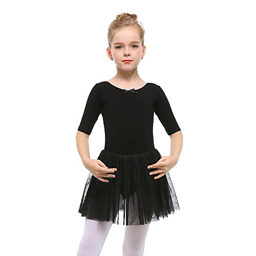 STELLE Toddler Girls Cute Tutu Dress Leotard For Dance, Gymnastics and Ballet (L, Black)
