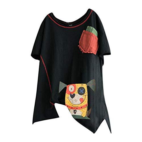Women's Short Sleeve O-Veck Contrast Cartoon Dog Print Tee Ringer T-Shirt ♚HebeTop♚ Black