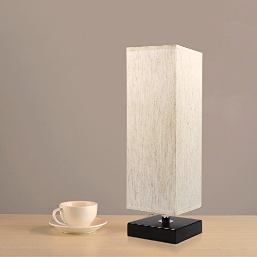Bedside Table Lamp, Aooshine Minimalist Solid Wood Table Lamp Bedside Desk Lamp With Square Flaxen Fabric Shade for Bedroom, Dresser, Living Room, Kids Room, College Dorm, Coffee Table, Bookcase by Aooshine (Image #2)