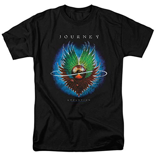 Popfunk Journey Evolution Album Steve Perry Band T Shirt & Exclusive Stickers (Large) Black ()