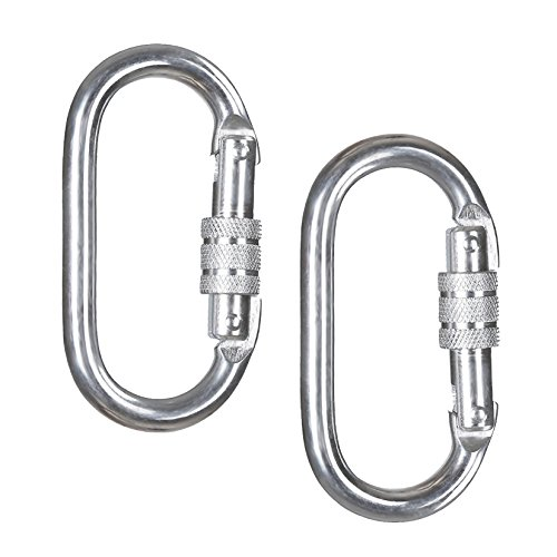 Round Spring Clip Reel (ArunnersTM Rock Climbing Locking Carabiners Large Heavy Duty Screw D Ring Silver 2 pcs)