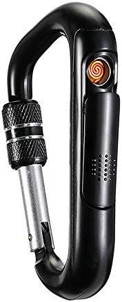 カラビナ 電子ライター カラビナ電子ライター一体のUSB充電熱線ライター防風無炎 軽量 薄型 山登りアウトドア野外用