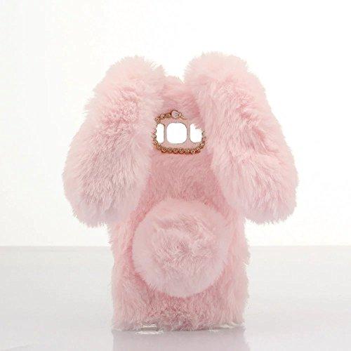 Case for Galaxy G5500, Lovely Warm Handmade Bunny Furry Luxury Bling Crystal Rhinestone Soft Beaver Rex Rabbit Ear Case for Samsung Galaxy On5(Pink)