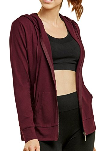 Sofra Women's Thin Cotton Zip Up Hoodie Jacket