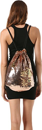 Ababalaya Women's Glitter Mermaid Sequins Gradient Drawstring Backpack Outdoor Sport Yoga,Champagne Gold