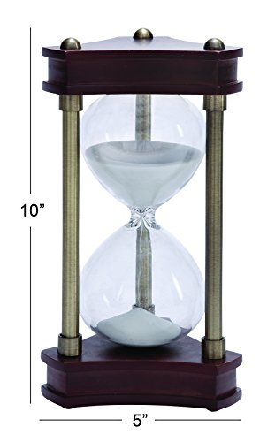 Deco 79 Beautifully Carved Wood Metal Glass Sand Timer by Deco 79 (Image #1)