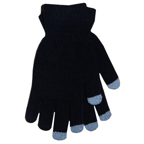 Fingertip Spandex Gloves - Boss Tech Products Knit Touchscreen Gloves with Conductive Fingertips for Use with All Touchscreen Electronic Devices - Black