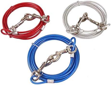 JTYR Cable de Amarre para Perros con estaca de Anclaje en Espiral Estaca para Perros Cable Largo y estaca para jard/ín al Aire Libre y Acampada para Cachorros peque/ños a Perros Grandes,Rojo,5m