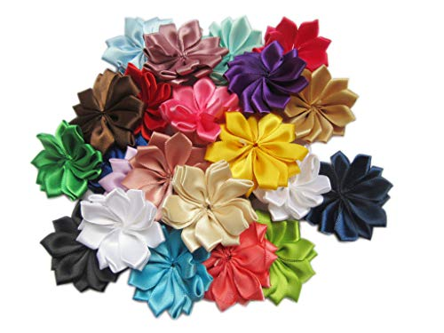 (YYCRAFT 30 Satin Ribbon Flower 2 Inch for Craft Wedding Sewing Embellishment Appliques(Mix Color))