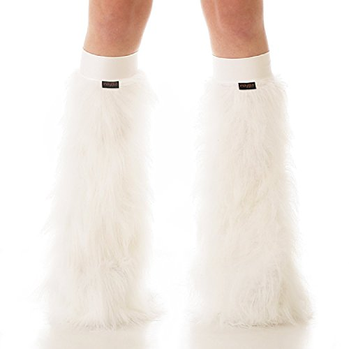 [TrYptiX Women's Fluffy Leg Warmers White One Size w/ White Kneebands] (Furry Rave Boots)