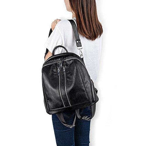 Leather UTO PU Pockets Ladies Zipper Washed Women Convertible Rucksack Backpack Purse Crossbody Black Bag Shoulder qwgXqUr