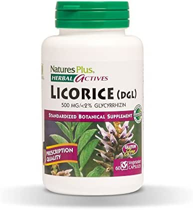 Natures Plus Herbal Actives Licorice (DGL) Capsules - 500mg, 60 Vegan Supplements - Maximum Potency, Anti Inflammatory, Stomach and Stress Reliever - Vegetarian, Gluten Free - 60 Servings