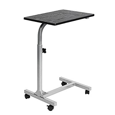 WarmCentre Laptop Desk Cart Adjustable Angle and Height Computer Stand Side Table with Rolling Caster for Bed Sofa Hospital Reading Eating
