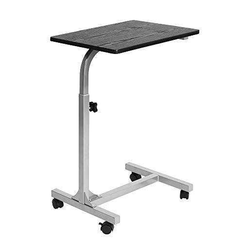 Laptop Side Table with Rolling Caster,WarmCentre Adjustable Angle and Height Laptop Stand for Sofa Bed Hospital Reading Eating,Black