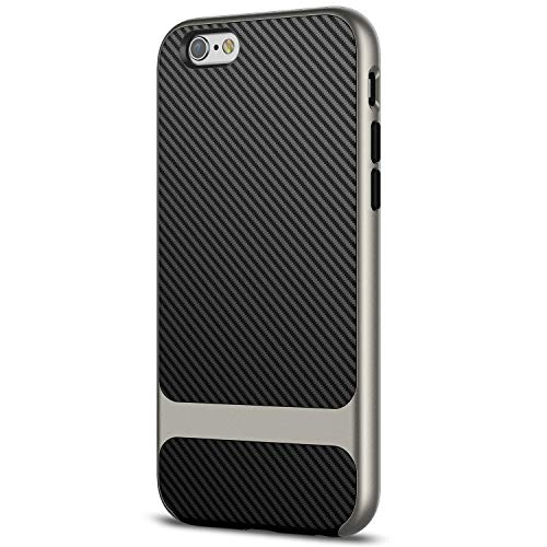JETech Funda para iPhone 6s iPhone 6, Carcasa con Fibra de Carbono, Anti-Choques, Gris
