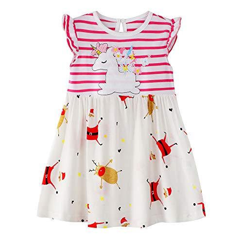 Little Girls Cotton Dress Unicorn Stripe Dress Chrismas