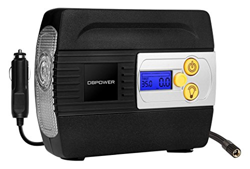 DBPOWER DC Auto Premium Tire Inflator, Pump to 100 PSI Portable Air Compressor with Digital Gauge and Light for Cars, Trucks, Bicycles/Basketballs, 12V
