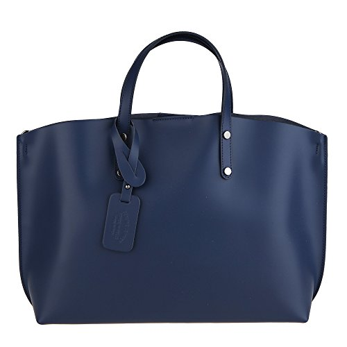 Chicca Borse Handbag Borsa a Mano da Donna in Vera Pelle Made in Italy 47x30x14 Cm Blu scuro