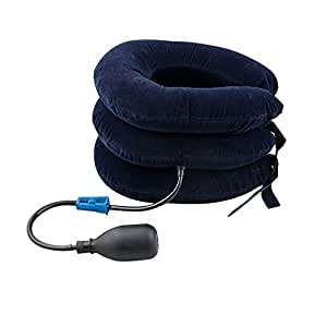 Denshine Cervical Neck Traction Device, Inflatable Pillow Soft Neck Cervical Collar Adjustable Support Neck Head Stretcher Inflatable Cervical Neck Back Traction Pain Relief for Chronic Neck and Shoulder Pain