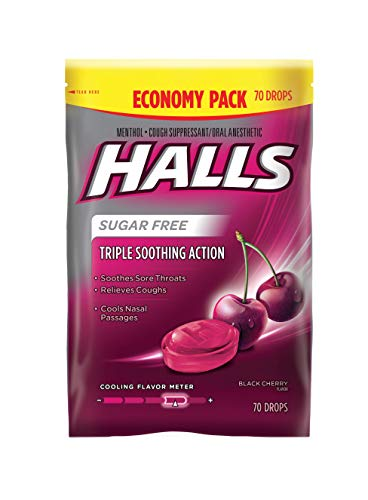 - Halls Black Cherry Sugar Free Cough Drops - with Menthol - 70 Drops (1 bag of 70 drops)