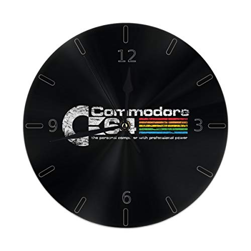 Commodore Clock - Flypo-yoc Commodore 64 Round Acrylic Wall Clock Non Ticking Silent Clocks for Home Decor Living Room Kitchen Bedroom Office School