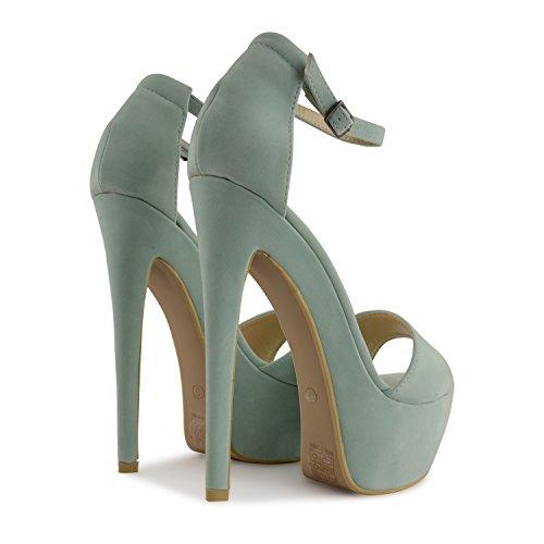 Footwear Sensation - Sandalias de vestir para mujer negro negro verde menta