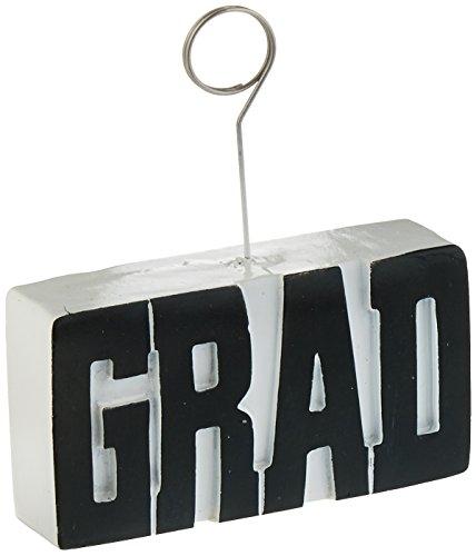 Beistle Graduate Photo/Balloon Holder, Black/White
