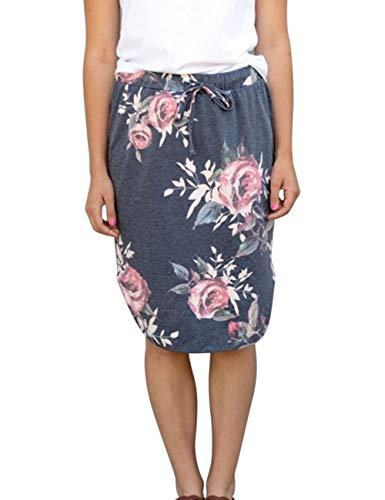 Wenseny Womens Floral Skirts Knee Length Pencil Skirts High Waist Midi Bodycon Drawstring Daily Dresses Dark Grey Floral - Skirt Womens Length Knee