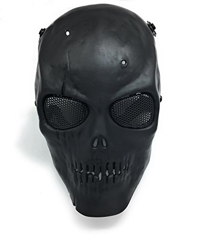 Everlife Shop CS Protective Mask Halloween Airsoft Paintball Full Face Skull Skeleton Mask (Black) -
