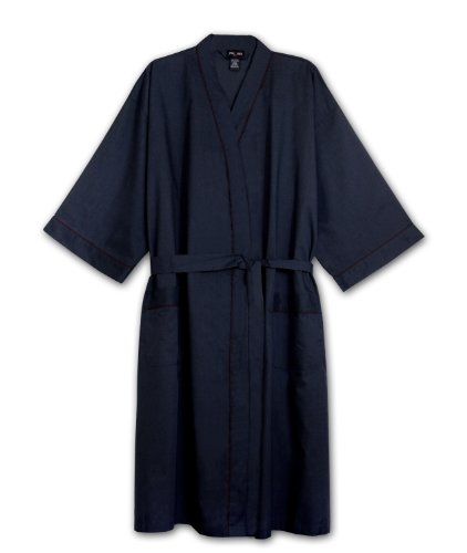Foxfire Tall Mens Light Weight Broadcloth Kimono Robe (Navy 3/4T)