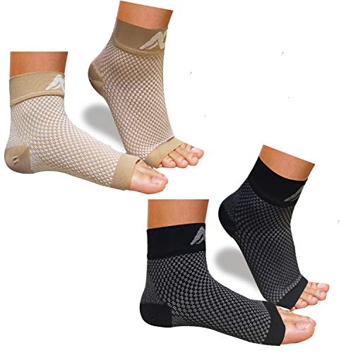 ACTINPUT Compression Foot Sleeves for Men & Women – Best Plantar Fasciitis Socks with Arch Support (Black+Nude, Medium)