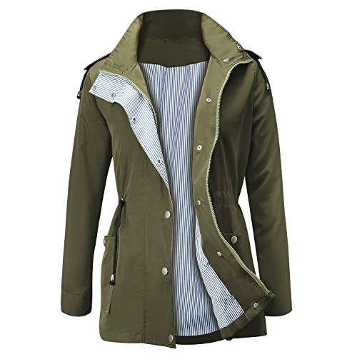 Jasambac Women's Raincoat Waterproof Outdoor Active Hooded Jacket Trench Coat, Army Green, - Hooded Active Jacket Ladies