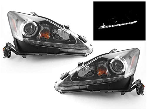 DEPO True OE Style JDM Black LED DRL Projector Headlight Compatible and Fits For 2006-2013 Lexus IS250 IS350 [Halogen Model Only] - Compatible and Fits for Lexus - Jdm Style Headlights