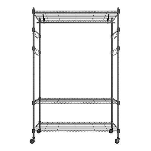 (Heavy Duty Hanging Garment Rack Organizer with 1 Hanging Bars & 2 pair Hanger Hooks)